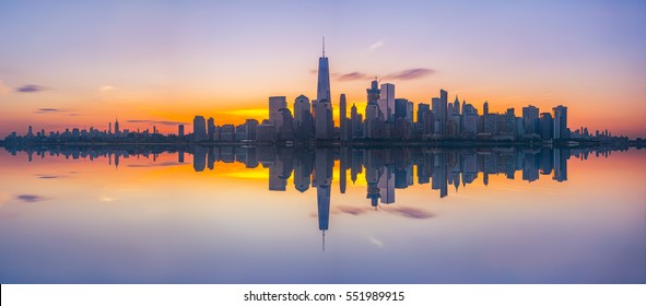 New York City Skyline Reflections at sunrise