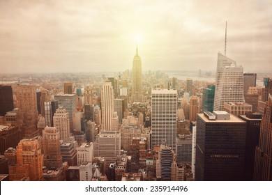 New York City skyline with retro filter effect