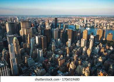 New York City skyline showing landmark buildings by day in Manhattan, New York, United States of America.