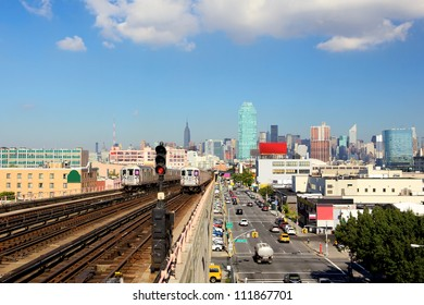 New York City skyline from subway line in Queens