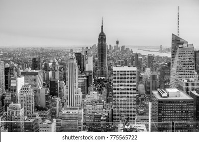New York City skyline at sunset, USA.