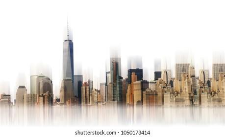 New york city skyline. Urban landscape. Modern city landscape. Cityscape backgrounds. Daytime city isolate on white background.