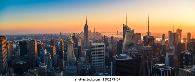 New York City Skyline with Urban Skyscrapers at Sunset, USA - Shutterstock ID 1392193439