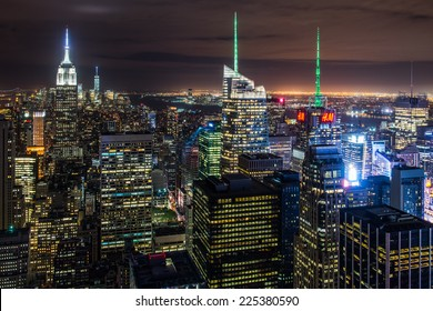 New York City skyline with urban skyscrapers at night