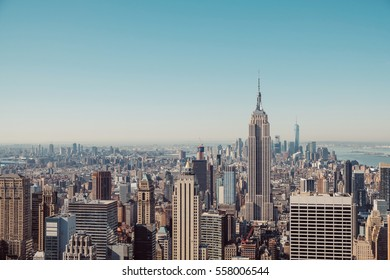 New York City skyline with urban skyscrapers in vintage style