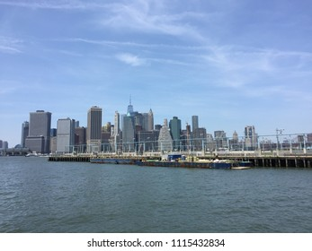 New York City skyline with view of Financial District in lower Manhattan, Freedom Tower