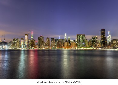 New York City skyline view from Gantry Park, Long Island City, Queens.