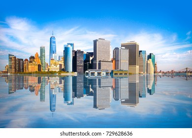 New York City skyline with view of Financial District in lower Manhattan