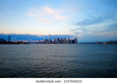 New York City skyline viewed from the Hudson river shot with a special effect Tilt Shift lens late in the afternoon.