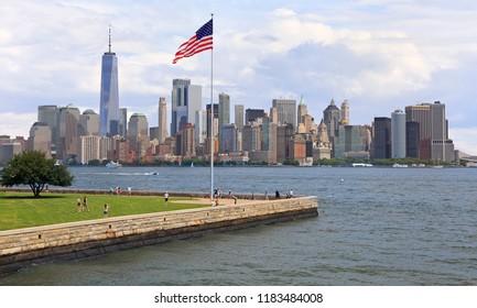 New York City skyline viewed from Ellis Island, USA