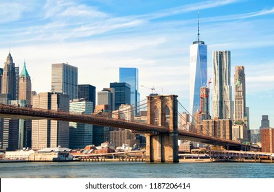 New York City skyscrapers and Brooklyn Bridge, USA