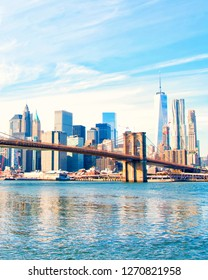 New York City skyscrapers and Brooklyn Bridge, USA