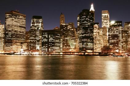 New York City skyscrapers by night