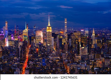 New York city with skyscrapers at dusk, NYC USA