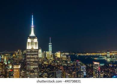New York City with skyscrapers at night