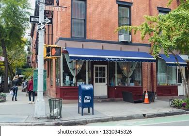 New York City, New York State, USA 10 25 2017 Magnolia Bakery shop at Bleecker Street