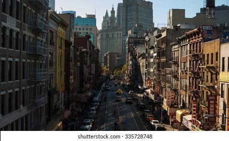 NEW YORK CITY, NEW YORK STATE/USA - OCTOBER 11, 2015: The view on Chinatown from Manhattan Bridge