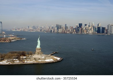 new york city and statue of liberty