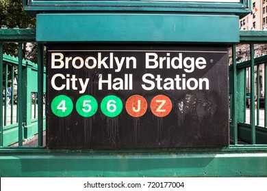 New York City subway entrance and  sign with circles