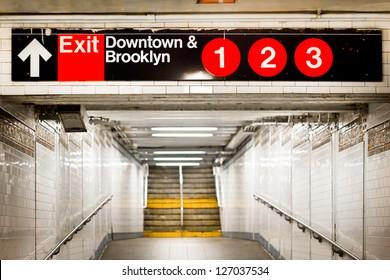 New York City subway passageway and sign to Brooklyn