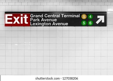 New York City subway sign at historic landmark Grand Central Terminal
