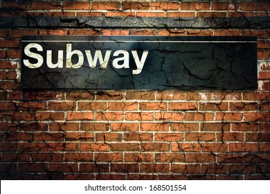 New York City subway sign with grunge texture