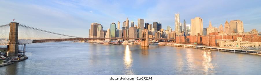 New York City at sunrise - Brooklyn Bridge and Lower Manhattan - New York, United States