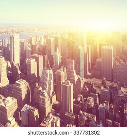 New York City at sunrise. Vintage style image.