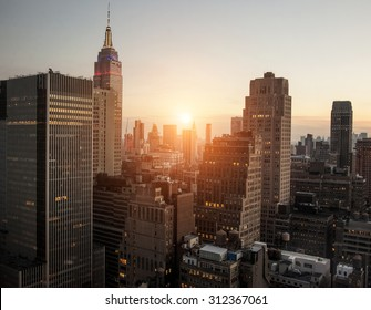New York city with sunset across horizon