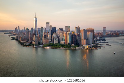 New York city at sunset aerial view
