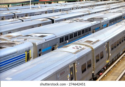 NEW YORK CITY -  Trains lined up at the station at Hudson Yards in Manhattan