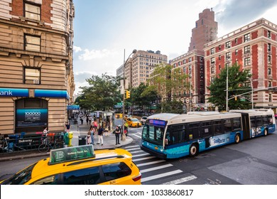 New York City, United States - August 25, 2017: At the corner of West 86th Street and Broadway.