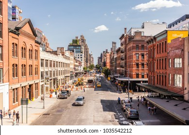 New York City, United States - August 26, 2017: View from the High Line, Chelsea. The High Line (also known as High Line Park) was created on a former New York Central Railroad spur.