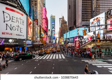 New York City, United States - August 25, 2017: Times Square with people and traffic.