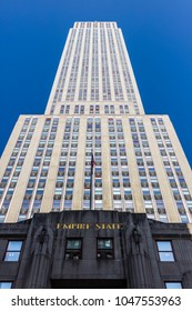 New York City, United States - August 25, 2008: Facade of the Empire State Building on Fifth Avenue (Midtown Manhattan).