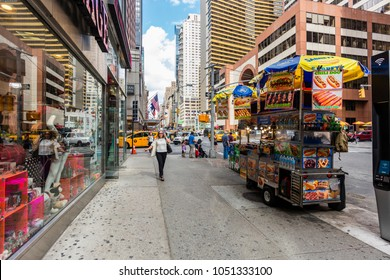 New York City, United States - August 25, 2017: Near the corner of 7th Avenue and West 51st Street, Midtown Manhattan.
