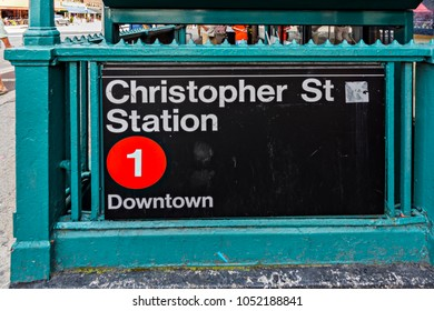 New York City, United States - August 25, 2017: Christopher Street Station, 7th Avenue S, Greenwich Village, Manhattan.