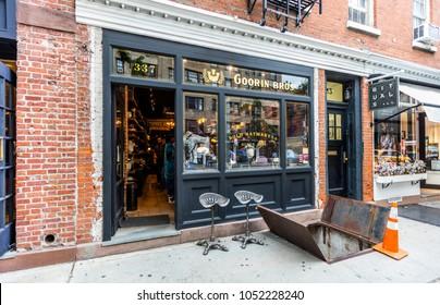 New York City, United States - August 25, 2017: Hat shpo in Bleecker Street, Greenwich Village, Manhattan.