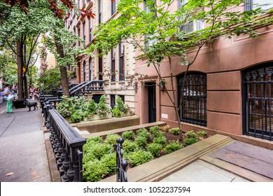 New York City, United States - August 25, 2017: Street view in Greenwich Village, Manhattan.