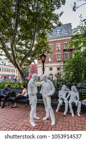 New York City, United States - August 25, 2017: In Christopher Park, sculptures commemorating the gay liberation movement and the Stonewall Riots, begun to spread from the Stonewall Inn ( 1969).