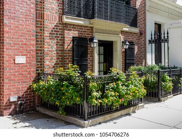 New York City, United States - August 26, 2017: Facade with plants in East 77th Street, Manhattan.