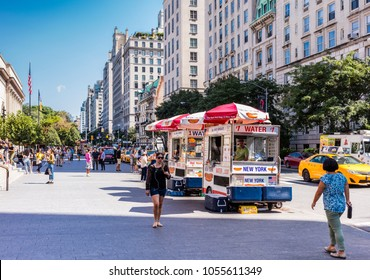 New York City, United States - August 26, 2017: Vendors of hot dogs and beverages in front of the Metropolitan Museum of Art, Fifth Avenue, Manhattan.