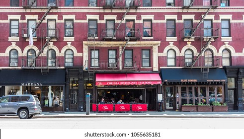 New York City, United States - August 26, 2017: 8th Avenue, Chelsea, Manhattan, with facades, stores, and customers sitting at the tables of an Italian restaurant.