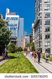 New York City, United States - August 26, 2017: Along the High Line, Chelsea. The High Line (also known as High Line Park) was created on a former New York Central Railroad spur.
