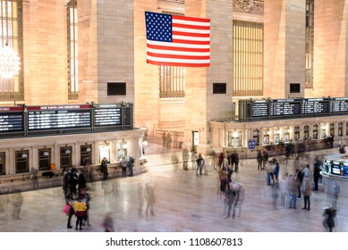 New York City, New York, United States -February 17, 2018: Interior View of Grand Central Station, NYC, long exposure image with people walking through making blurry trails.
