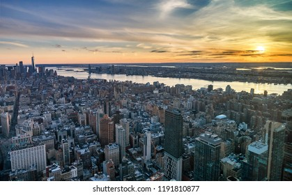 New York City, United States- April 3, 2017: Manhattan skyline from above at the sundown, New York City