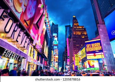 New York City, United States - November 3, 2017: Manhattan's view of 7th Avenue near Time Square  at twilight in the evening.