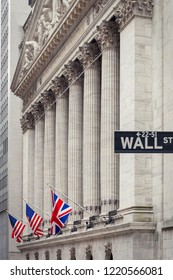 NEW YORK CITY, UNITED STATES - CIRCA OCTOBER 2016: Wall Street sign and the New York Exchange (NYSE) building, New York City, USA