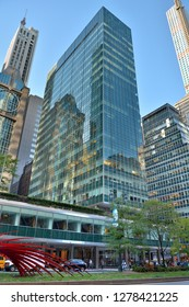 New York City, United States of America - October 6, 2015. 21-story Lever House in New York City, built during 1950-52. Street view with people and traffic.