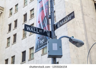 New York City, United States of America - November 18, 2016: Street signs at the corner of Wall Street and Nassau Street in Lower Manhattan.